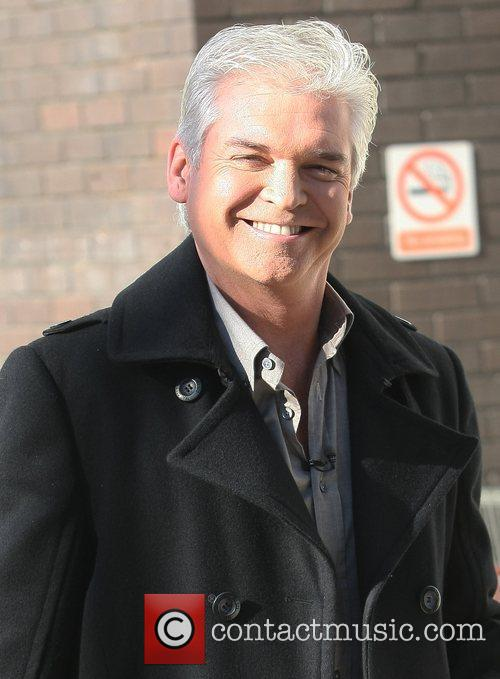Phillip Schofield filming outside the ITV studios London,...