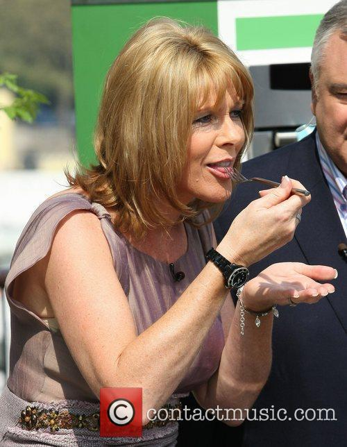 Ruth Langsford participating in a cooking segment as...