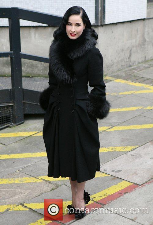 Dita Von Teese outside the ITV studios London,...