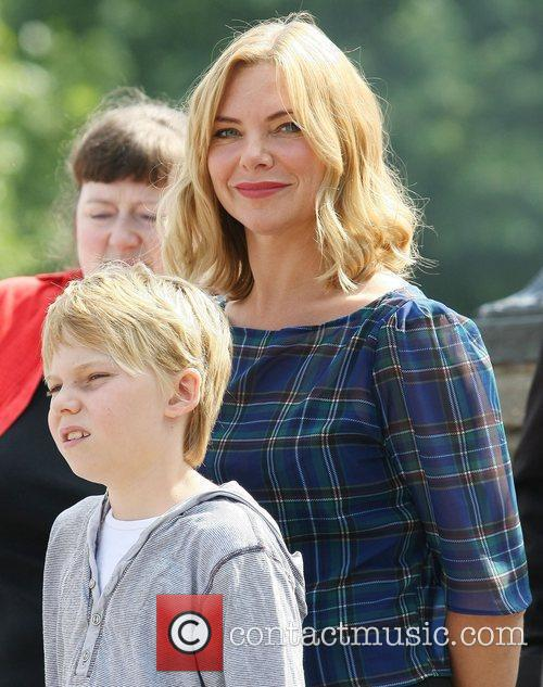 Samantha Womack and son Ben Womack  outside...
