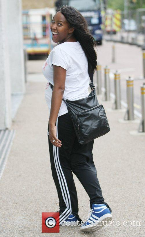 Angelica Bell  outside the ITV studios...