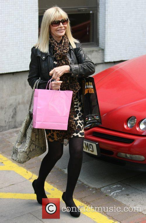 Britt Ekland leaving the London studios after appearing...