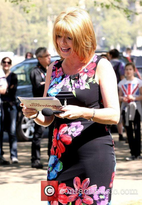 Ruth Langsford ITV filming various challenges outside with...
