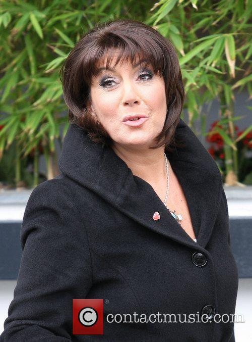 Jane McDonald is seen in good spirits while...