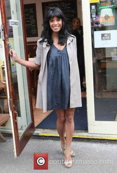 A pregnant Jenny Powell at the ITV studios...