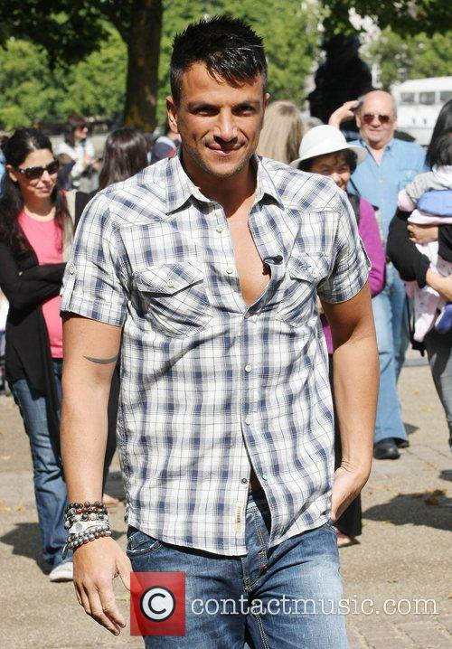 Peter Andre filming outside the ITV studios London,...