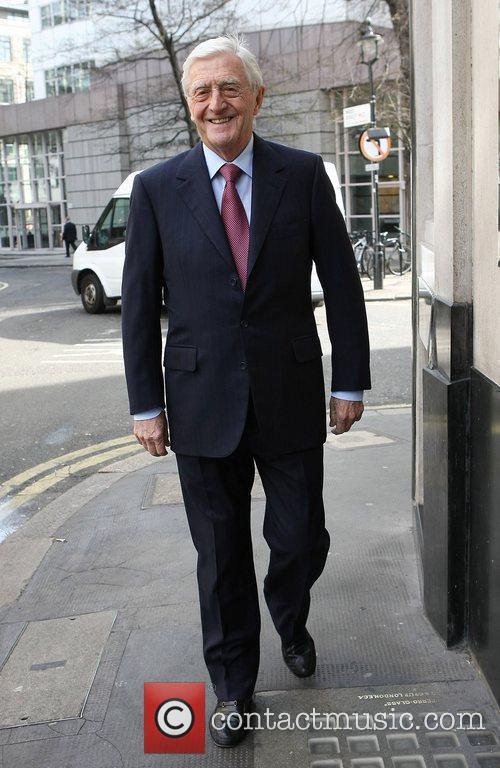 Michael Parkinson outside The Ivy restaurant London, England