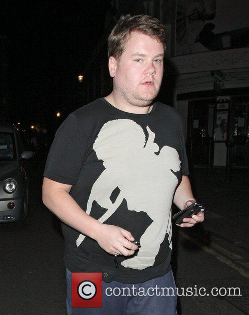 James Corden leaving The Ivy restaurant after eating...
