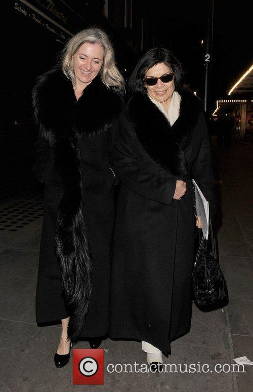 Bianca Jagger and a female friend leaving J...