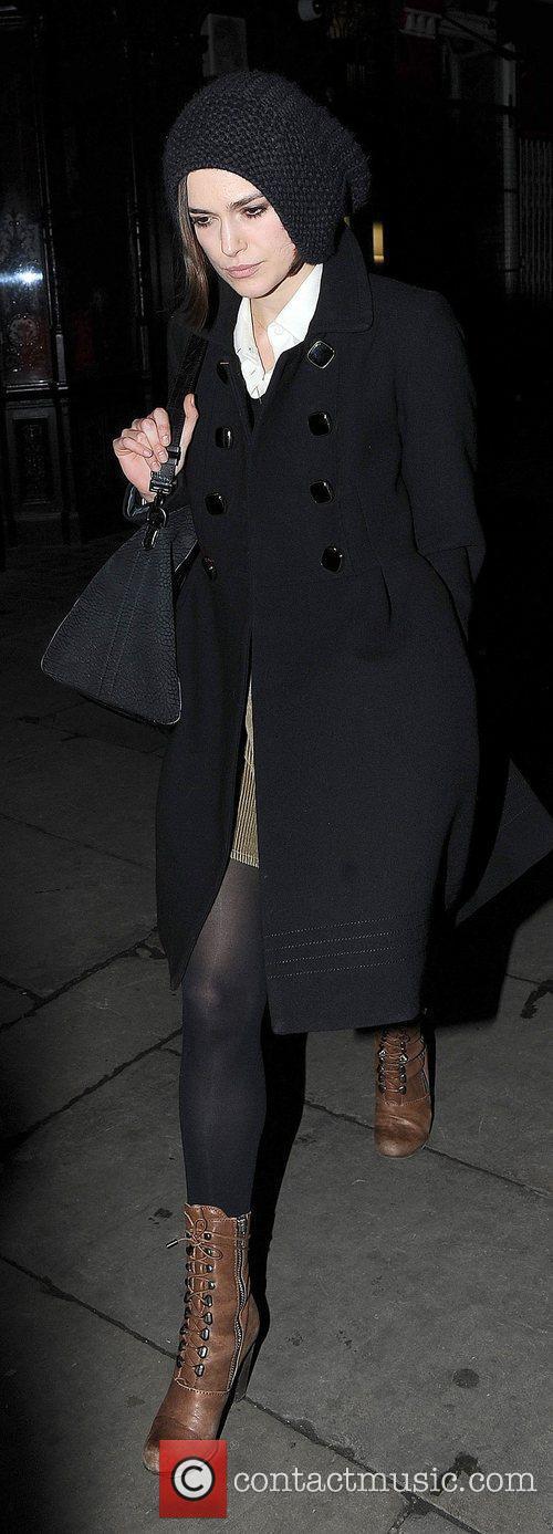 Keira Knightley leaving J Sheekey restaurant