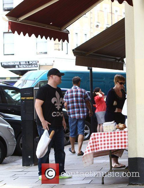 Funnyman James Corden is seen buying a french...