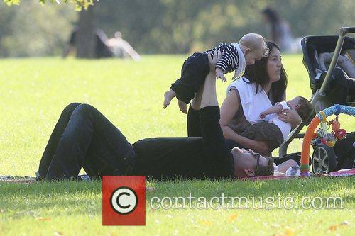 James Corden with baby Max enjoying the sunshine...