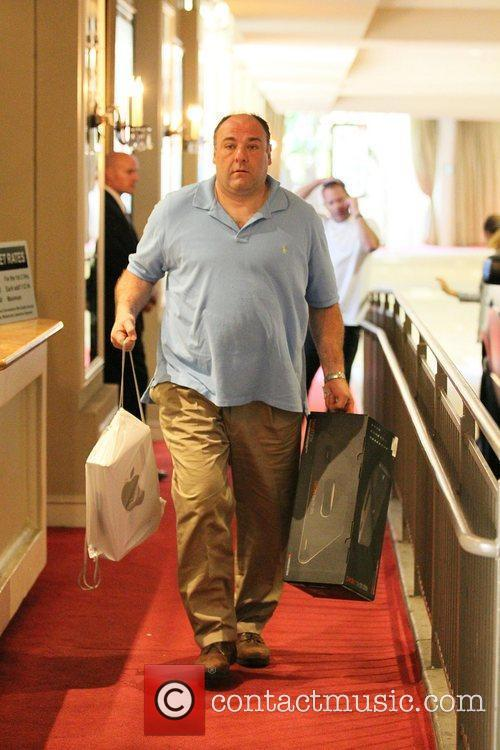 James Gandolfini carrying an Apple shopping bag as...