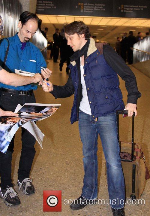 James McAvoy arriving at Washington Dulles International Airport...