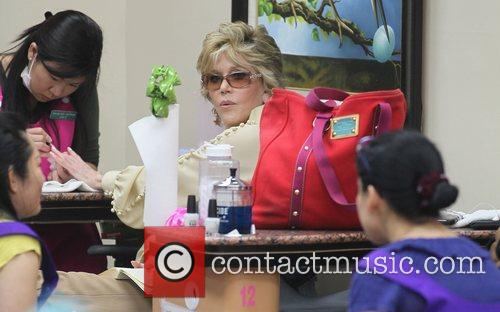 Jane Fonda getting her nails done in Beverly...