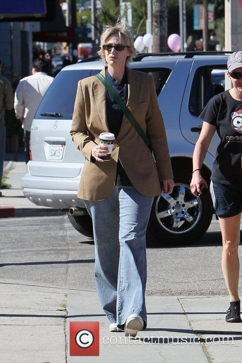 Jane Lynch leaving Joans on Third in West...