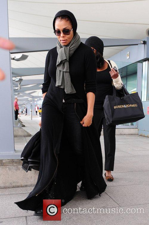 Janet Jackson arriving at Heathrow Airport London, England