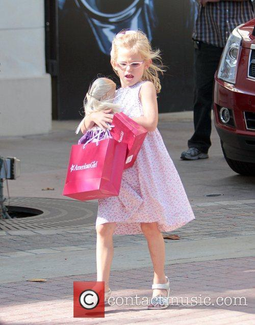 Violet Affleck is seen waking through The Grove...