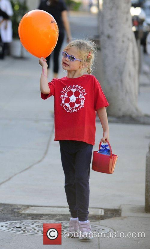 Violet Affleck is seen leaving a children's play...