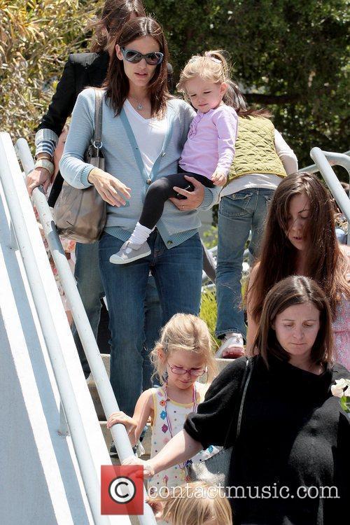 Jennifer Garner, Seraphina Affleck and Violet Affleck (foreground)...