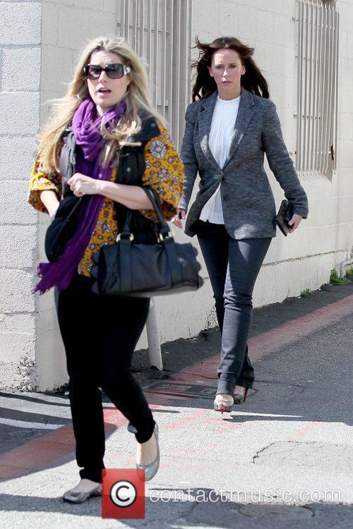 Jennifer Love Hewitt returning to her car after...