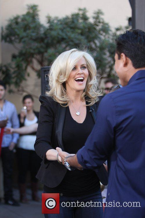 Jenny McCarthy filming an interview for entertainment television...