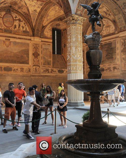 Jersey Shore cast members visit the Palazzo Vecchio,...