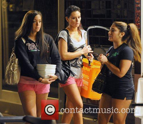Jersey Shore cast members pop round the corner...