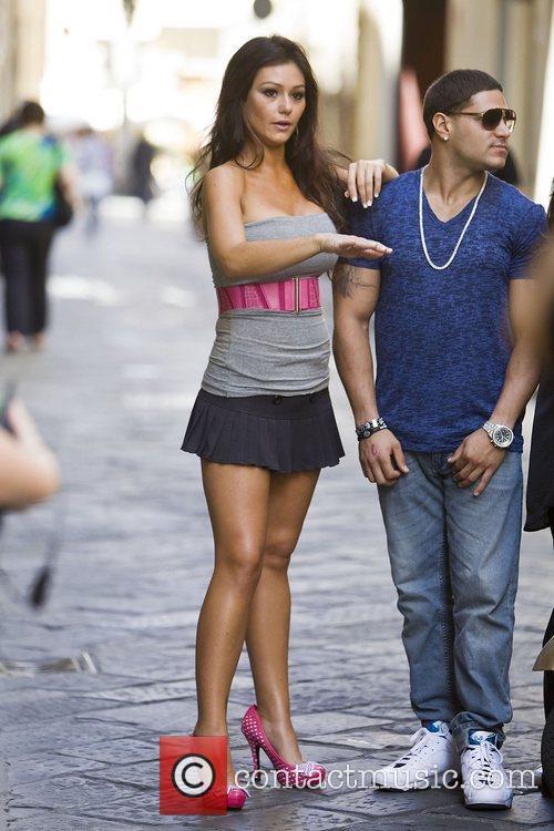 Jenni JWoww Farley Jersey Shore cast members pose...