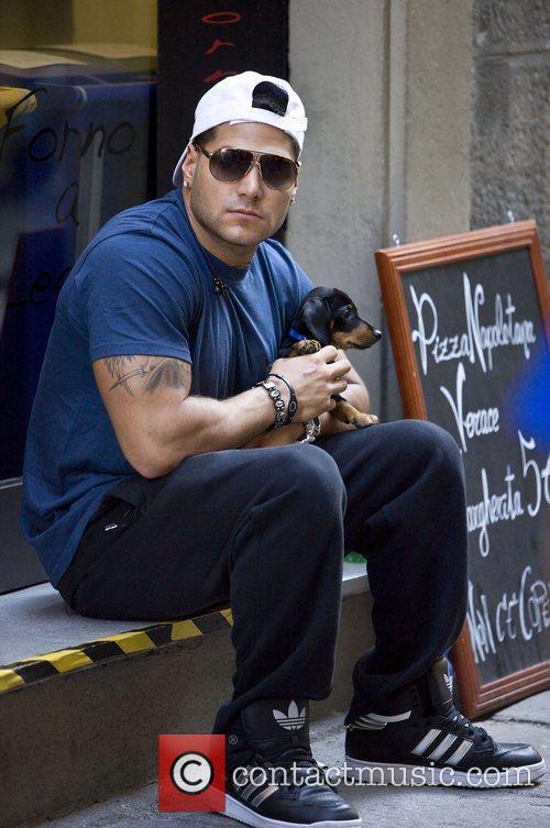 Ronnie Ortiz-Magro sits outside the O' Vesuvio Pizzeria...