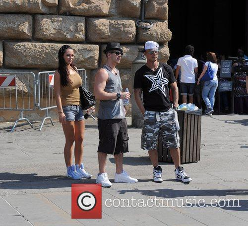 Jersey Shore cast members before filming outside the...