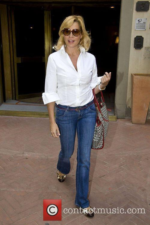 Italian TV presenter Simona Ventura leaving a hotel,...