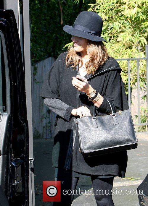 Jessica Alba dressed head to toe in black...