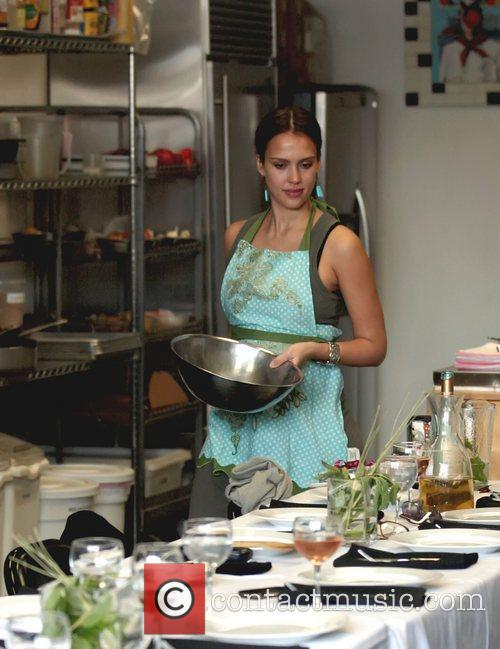 Jessica Alba taking a cookery class in West...