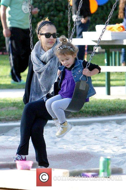 Jessica Alba at the park in Beverly Hills...