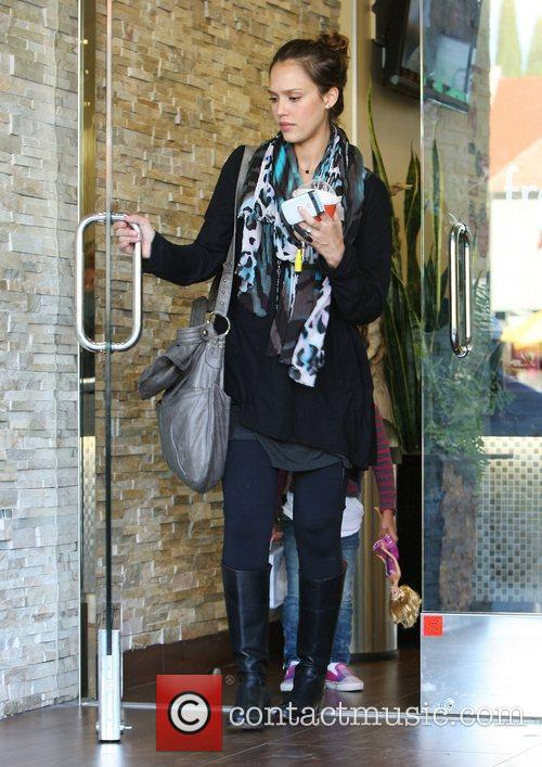 Jessica Alba after buying frozen yoghurt in Beverly...