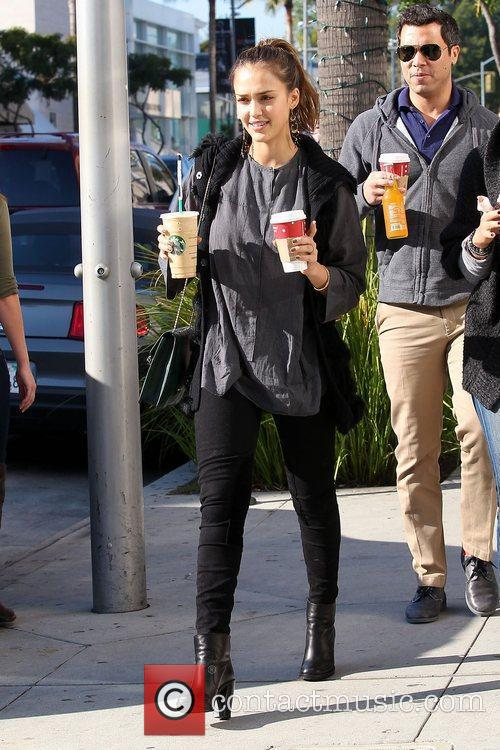 Jessica Alba has a coffee in Beverly Hills....