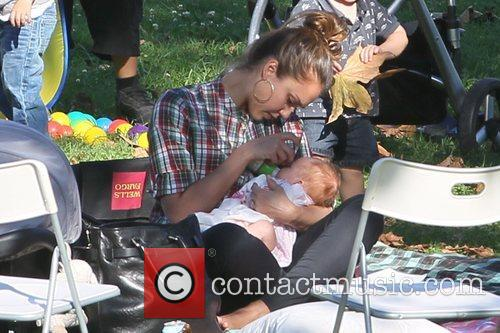 Jessica Alba, Cash Warren and their two daughters...