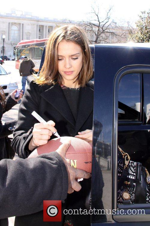 Jessica Alba and her daughter depart the Library...