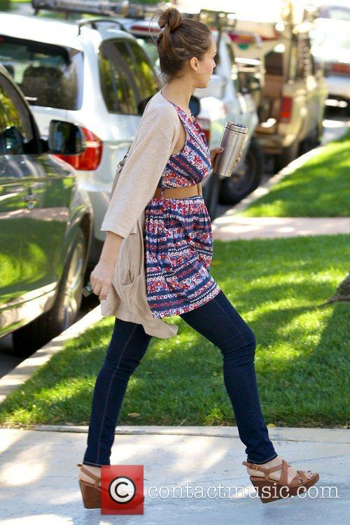 Jessica Alba arriving at a residence in Beverly...