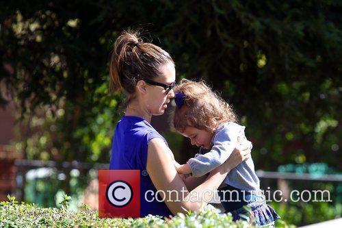 Jessica Alba holds her daughter Honor Marie Warren...