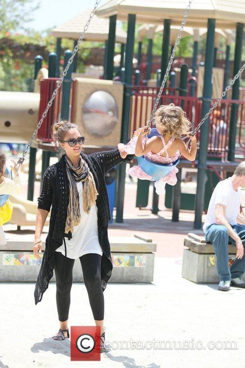 Jessica Alba enjoys the day playing at Coldwater...