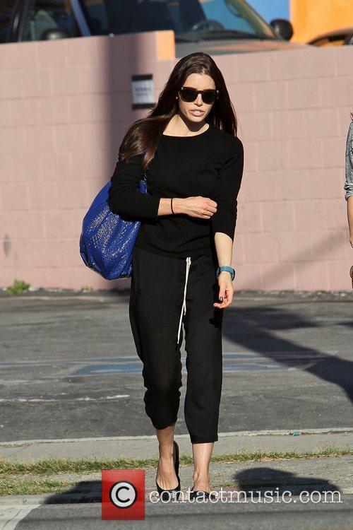 Jessica Biel leaving a friend's house to go...