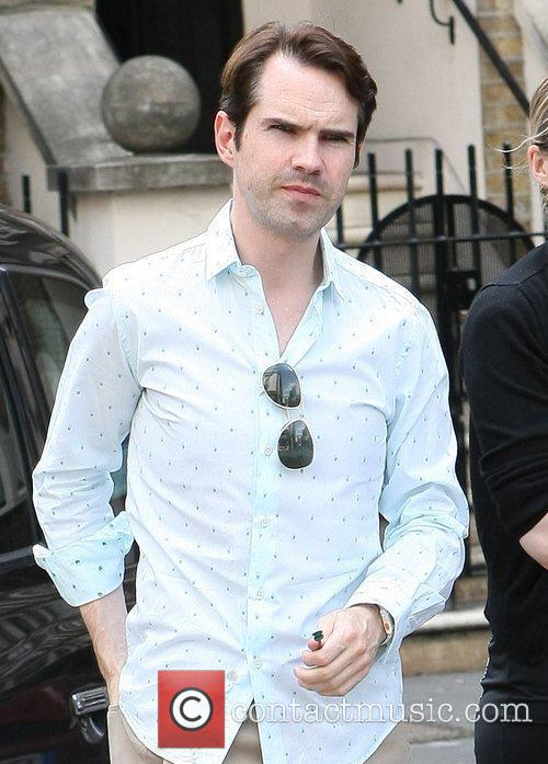 Jimmy Carr outside the Ivy restaurant London, England