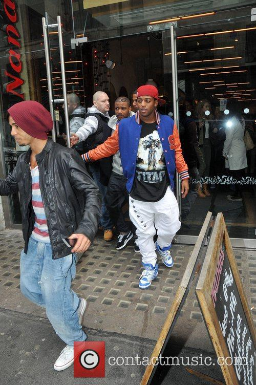 JLS spotted leaving Nando's restaurant in central London