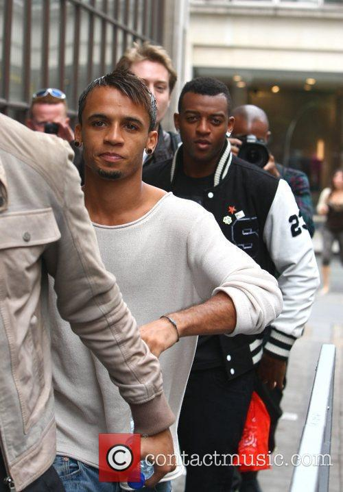 Aston Merrygold and Oritse Williams of JLS outside...