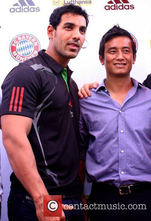 Bollywood actor John Abraham with Baichung Bhutia...