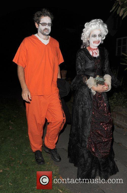 Louis Theroux and his wife Nancy Strang outside...