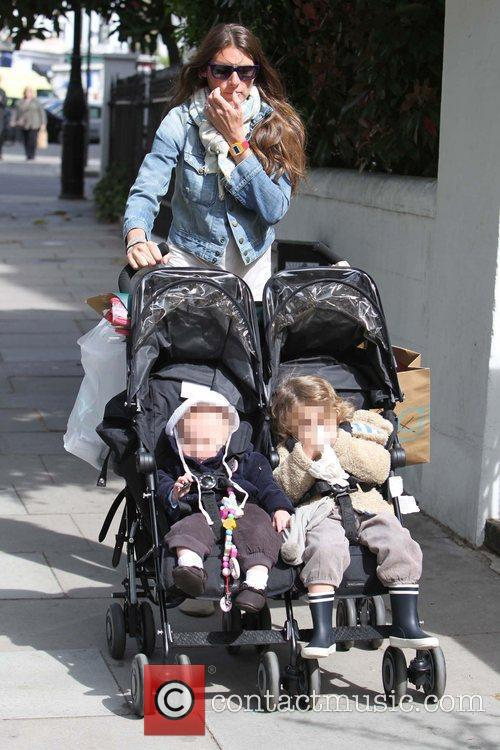 Jools Oliver  walking in Primrose Hill with...