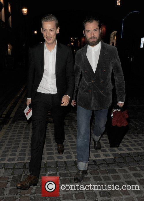 Jude Law leaving the Donmar Warehouse. London, England